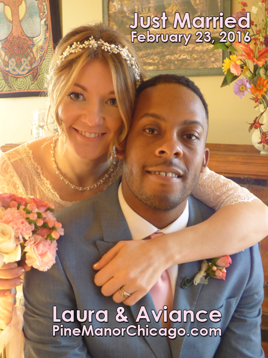 Just Married at Pine Manor Chicago, Wedding Announcement Portrai
