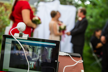 skype your wedding live feed at Pine Manor Chicago